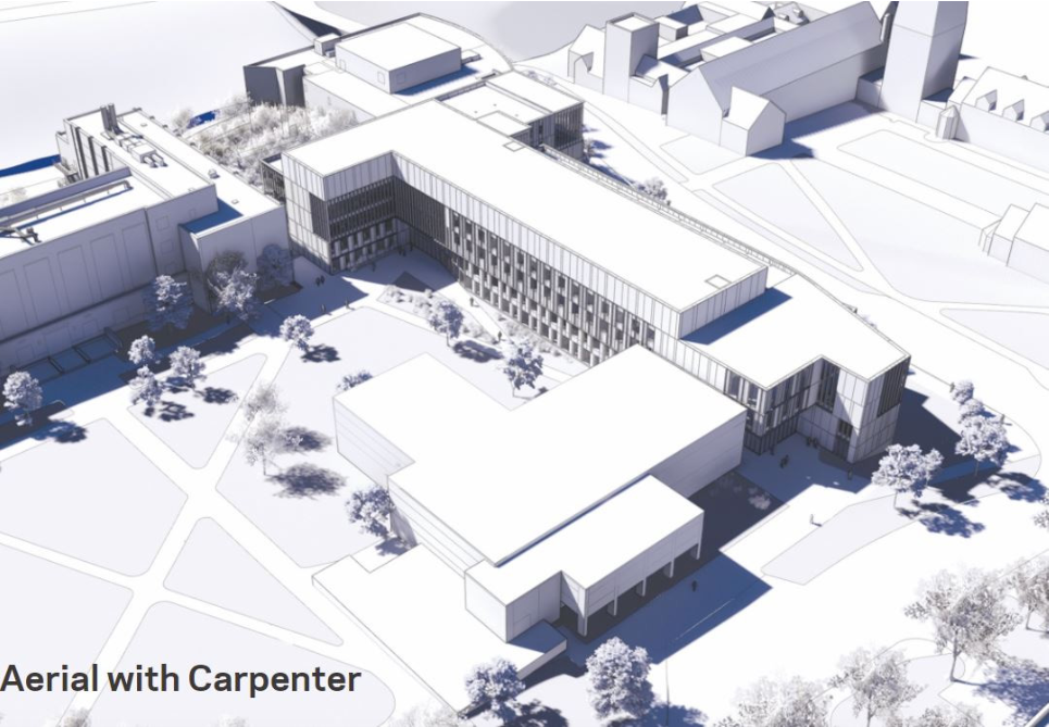 Aerial view of planned Engineering Quad Library with Carpenter Hall