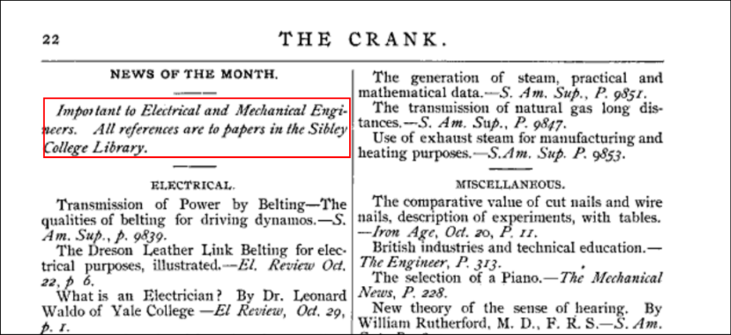 Excerpt from The Crank referencing the Engineering Library, 1888