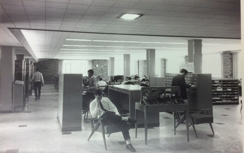 Engineering library reading room, including card catalog, 1960
