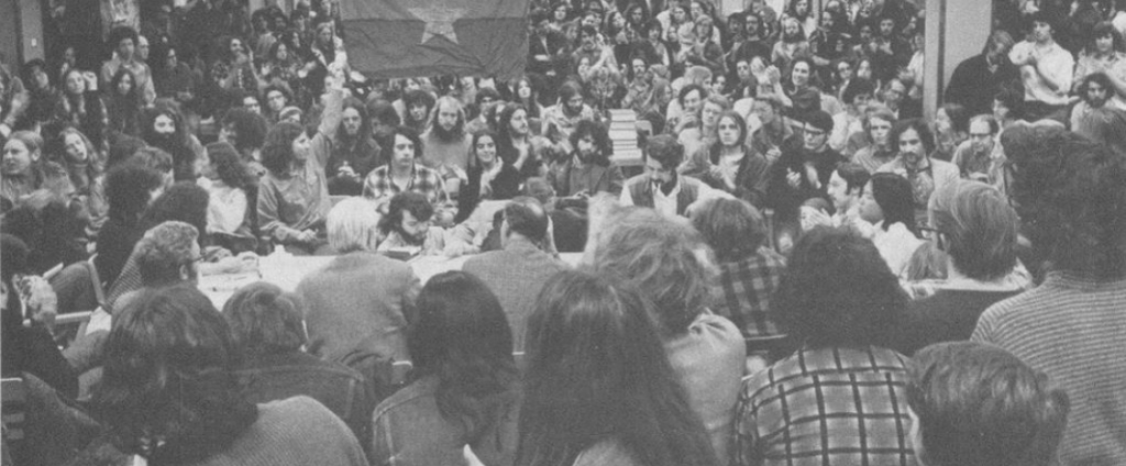 Carpenter Hall takeover, demonstrators camped in library, 1972