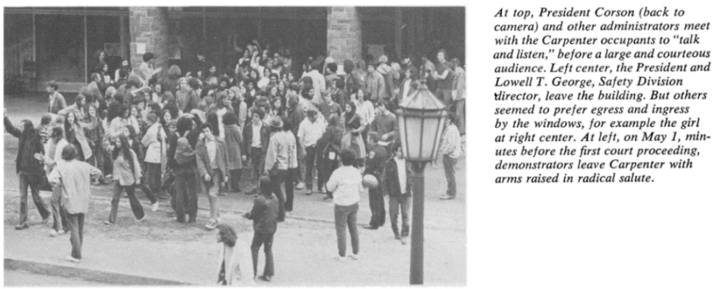 News article clipping depicting audience gathering outside Carpenter Hall takeover